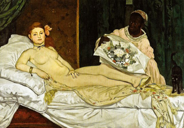 Edouard Manet - Olympia, 1863,  Very sexual element.  A disturbing directness in this work (for people at the time). Body almost flat. The impressionists look at Manet as a father figure.