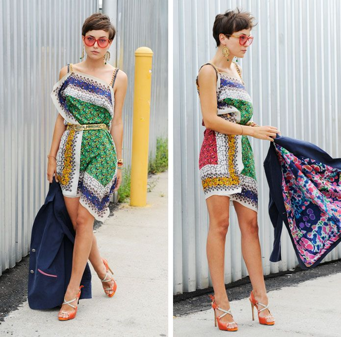 diy scarf dress.  Just a weensy bit short, but very sexy