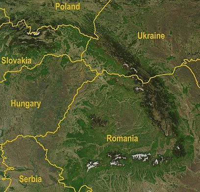 Satellite image of the Carpathians-Wikipedia