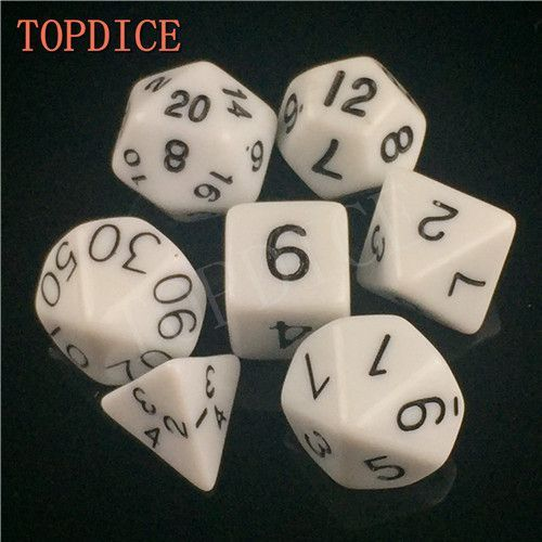 [TOPDICE] 7 Sided dice Dungeons and Dragons Game RPG DICE SET 16-20MM D4 D6 D8 D10 D12 D20 Dice and D&D cube set MIX COLORS