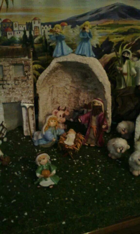 Sacra Famiglia,animali,angeli in porcellana fredda