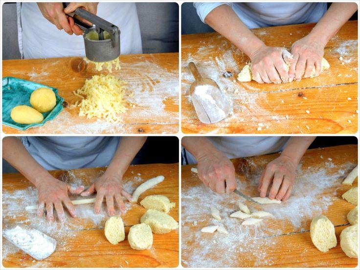 Gnocchi di patate:  Lessate in acqua salata 700 g di patate con la buccia. Sbucciatele e passatele con lo schiacciapatate direttamente sulla spianatoia infarinata. Setacciate la farina e lavoratela rapidamente con le patate ancora calde, 50 g di parmigiano grattugiato, noce moscata, sale e pepe.  Pronto l'impasto staccatene un pezzetto e con le mani ricavate dei rotolini lunghi 30 cm. A questo punto tagliateli con un coltello dandogli una forma un po' allungata.