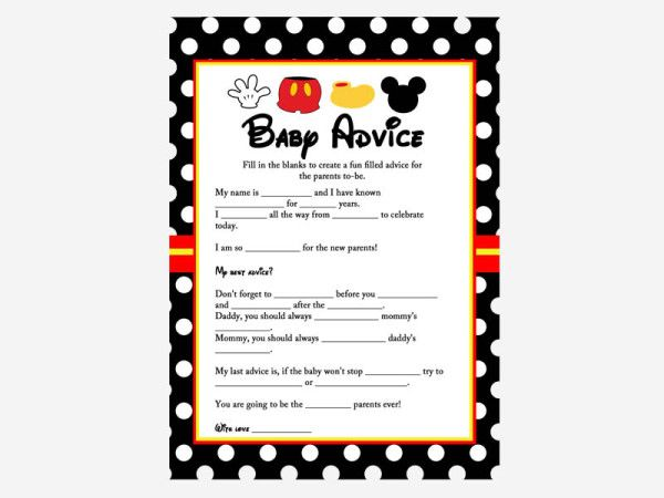 mickey mouse baby shower game