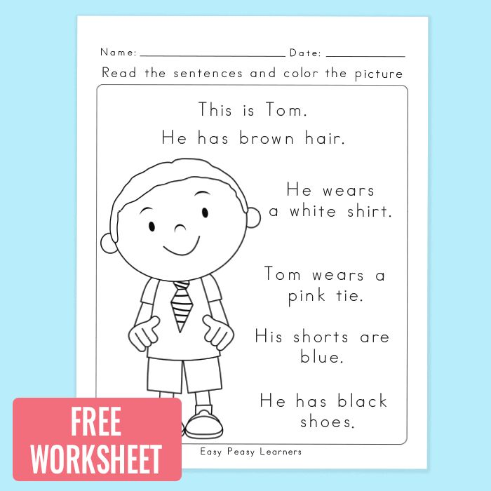 Free Read and Color Reading Comprehension Worksheet