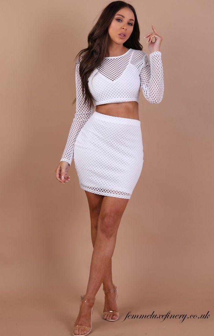 White Mesh Fishnet Two Piece Set – Amber  #cheap #clothing #dress #dresses #uk #femmeluxe #femmeluxefinery #women #cheap clothing #two piece set #white #mesh fishnet #fishnet two piece set #white fishnet two piece set