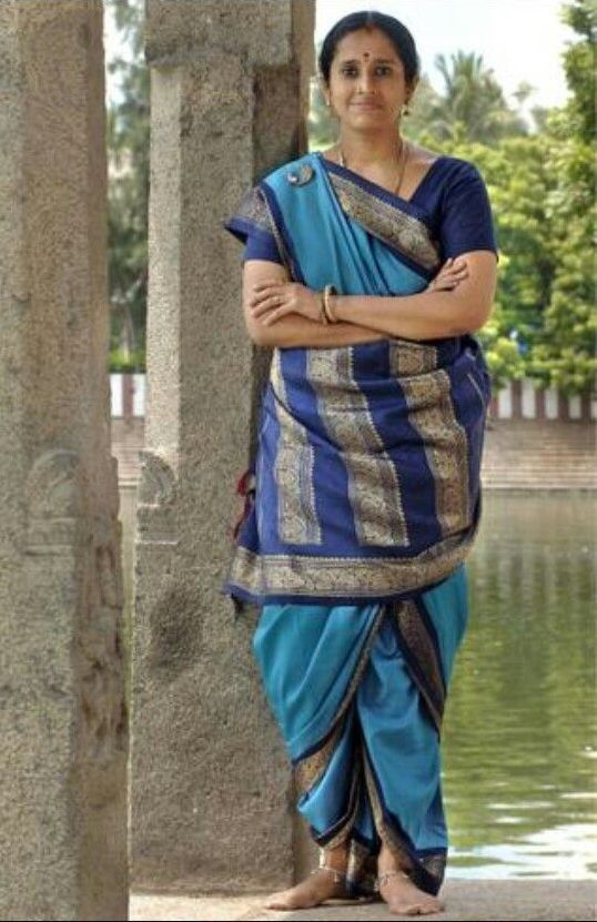 Sky Blue and Royal Blue Nine Yard Saree Draped in the Iyer Style
