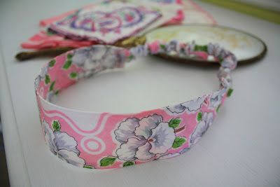 Vintage hankies repurposed into chic headbands on today's blog www.RetroRevivalBiz.blogspot.com