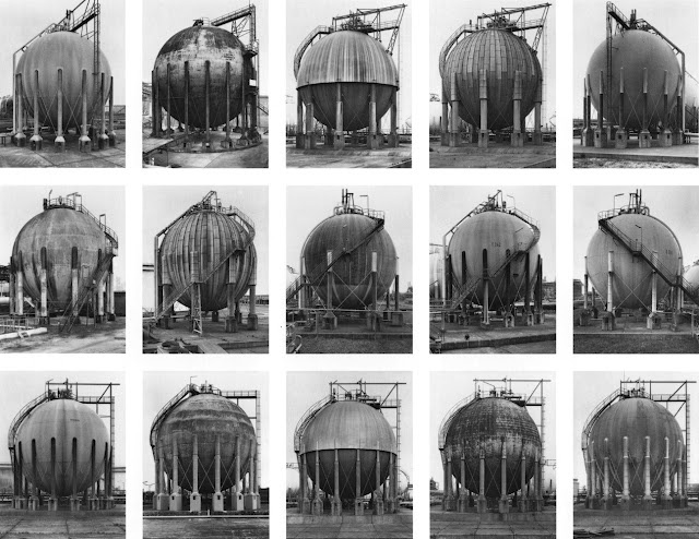 Bernd & Hilla Becher. More typologies. The idea was to photograph everything from the same height, same distance, same lens, overcast weather conditions, so that the differences in each example could be compared.
