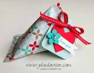VIDEO Tutorial: Valentine Sour Cream Shape Treat Holder - Julies Stamping Spot -- Stampin Up! Project Ideas Posted Daily