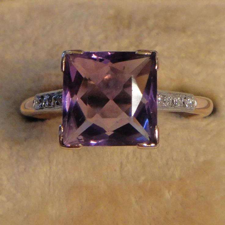 Vintage square amethyst with diamond shoulders by VintagePrettyThingsx on Etsy