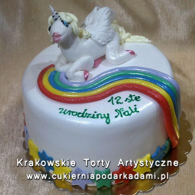 117. Tort z jednorożcem i tęczą. Cake with unicorn and rainbow.