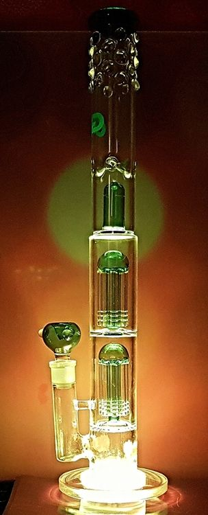 On SALE....Cosmic GIANT LED Grace Glass 19in Bong.  This beast is 19in tall with a Triple Perk system 2 ShowerHead perks and a Dome perk.  This Big Boy is just Freaken AWESOME.  The added bonus is the Remote Control LED lights you can make this Bong any color you Wish it starts as a clear and green bong then POW its a red bong, green, blue, pink whatever color you want.  #bong #bongs #weed #420 #pipes