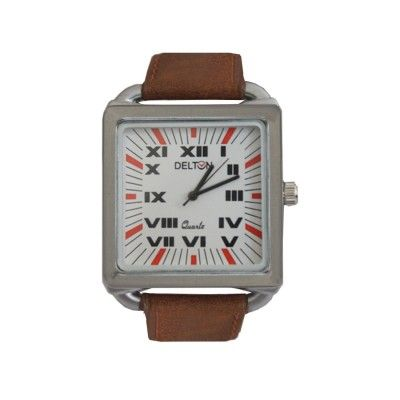 Menjewell Trendy Brown Leather Belt Silver Square Dial (Water Resistance) DELTON Watch - For Men  Rs. 374/- watch for mens,luxury watches online,watches for men brands top 10,wrist watch online,watches for men on sale,online watches for mens,luxury watches for men,watches for boys,mes jewellery , mens fashion
