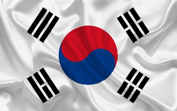 Herunterladen hintergrundbild süd-korea-flagge, asien, süd-korea, seidene fahne, flaggen der welt