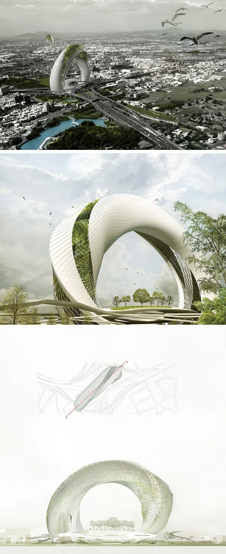 Designed for every major intersection, the Green Circle architectural concept aims to vertically restore space otherwise lost to highways. The twisting structure serves as both an elevated garden and sanctuary for animals like birds which can safely nest without disruption. Each Green Circle is designed to capture usable rainwater and harness solar energy to power an integrated pump system.