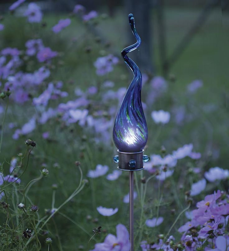 Superb Solar Spiral Glass Garden Stake Solar And Glow Accents From Wind U0026 Weather  On Catalog Spree