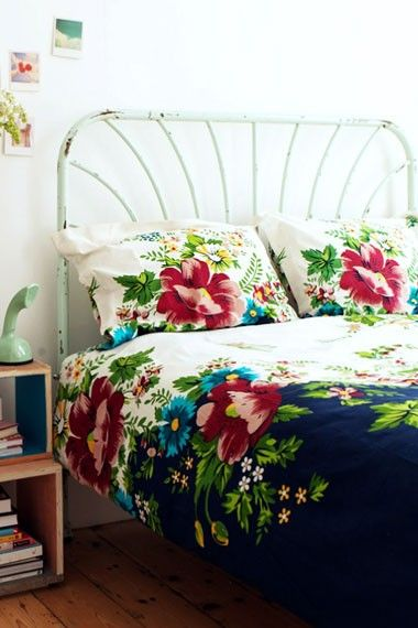 floral bed. wrought iron bed, floral bedspread, floral bedding like the night