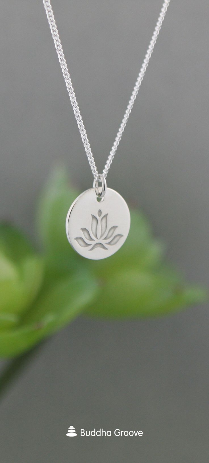 Lotus Coin Necklace, Sterling Silver