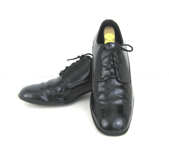 1960s Mens Shoes Black Patent Shoes Patent by Bethlesvintage, $60.00
