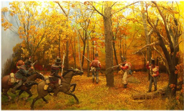 Hand crafted miniature dioramas depict scenes from the River Raisin Massacre and the Battles of Lake Erie and Thames