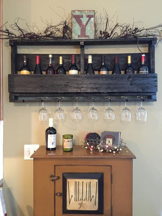 Pallet Wine Rack with Custom Lettering - Wine Glass Holder - Pallet Wine Bar - Wall Organizer for Wine Glasses and Bottles