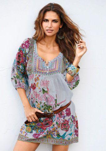 Tunikové šaty s potiskem #ModinoCZ #fashion #dress #flowers #móda #květiny #šaty