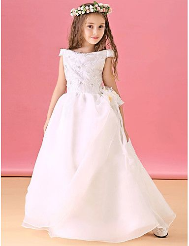 A-Line Floor Length Flower Girl Dress - Organza Satin Short Sleeves Bateau Neck with Ribbon