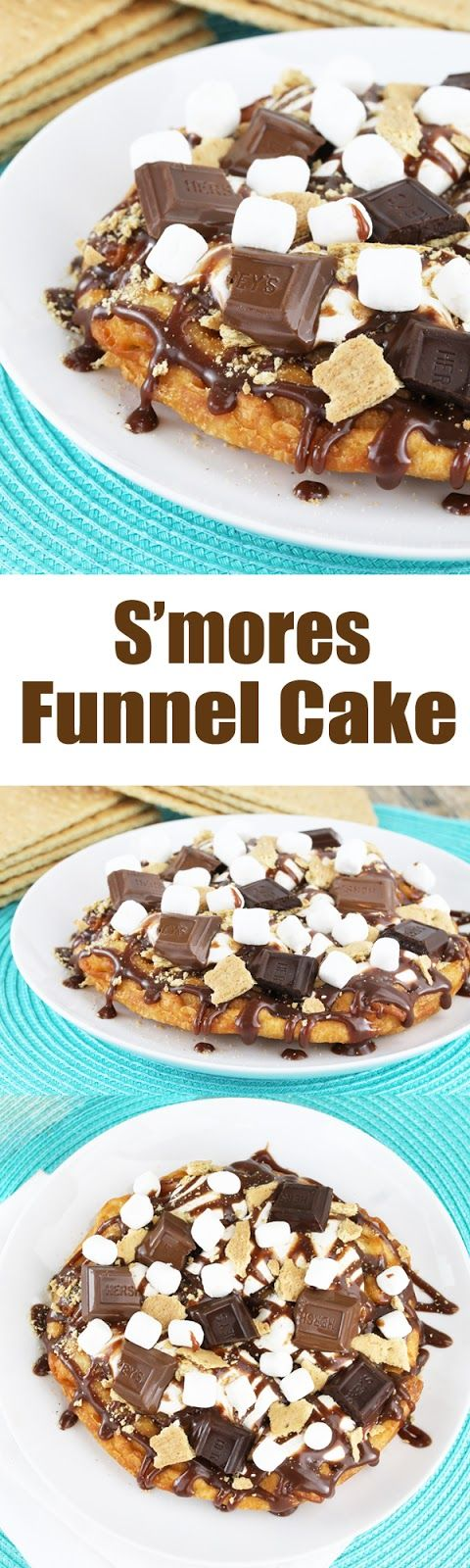 Smores Funnel Cake. The goodness of a good old fashioned funnel cake smothered in the flavors of smores. It will take you right back to the county fair!