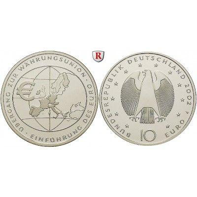 Bundesrepublik Deutschland, 10 Euro 2002, Einführung des Euro, F, bfr., J. 490: 10 Euro 2002 F. Einführung des Euro. J. 490;… #coins