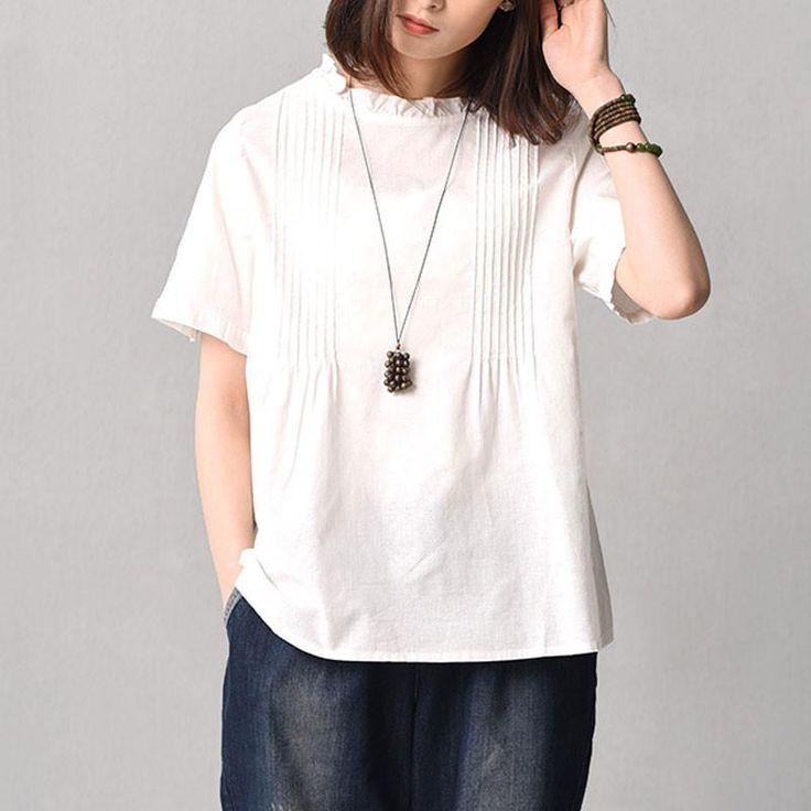 Women Literature Casual Slim Short Sleeve White Shirt