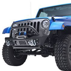 E-Autogrilles 51-0357 07-16 Jeep Wrangler JK Black Textured Stubby Front Bumper With Fog Lights Hole & 2x D-Ring & Winch Plate