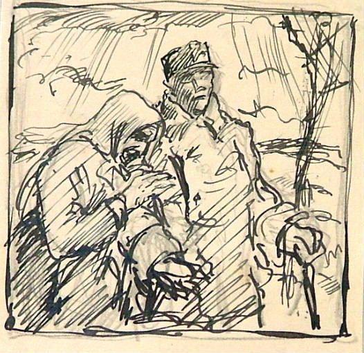 """ŠIMON Tavík František: """"Návrat z vojny"""", 2 skicy k leptu, kresba tužkou a tuší na papíře"""