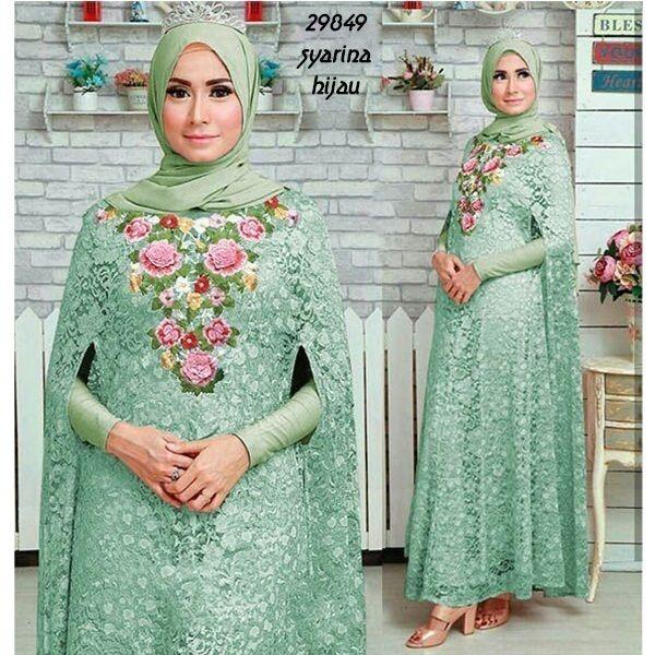 syarina hijau mint Rp135rb brukat bukaan kancing blkg renda leher inner maxi tgn pjg spdk korea pashmna ld 100 smp 110 pjg 134 lb 170 berat 750gram  contact us  FB fanpage: Toko Alyla  line@: @alylagamis  WA: 0812-8045-6905    toko online baju muslim  gamis murah  hijab murah  supplier hijab  konveksi gamis  agen jilbab
