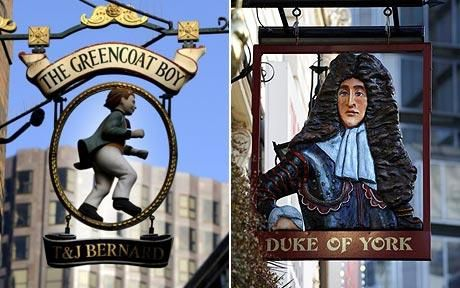 Pub signs: A Royal Act in 1393 made it compulsory for inns to have signs