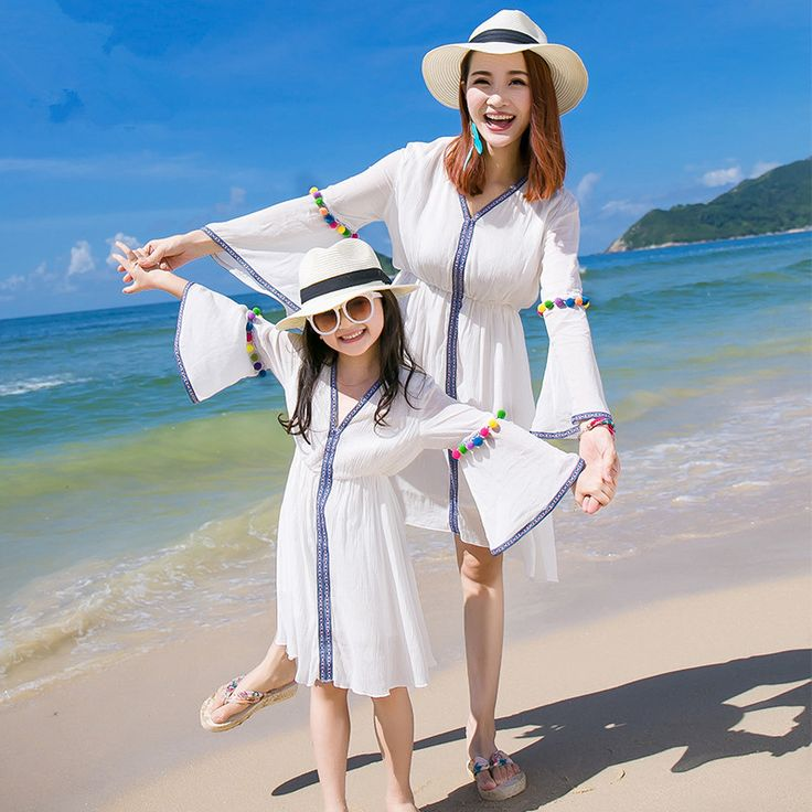 Mother Daughter Dresses Clothing Set 100% Cotton Beach Dress Seaside Holiday Bohemian Style Pure White Dress Family Clothing