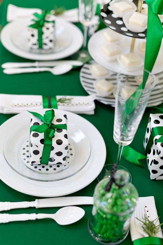 Kate Spade Holiday Party by Pizzazzerie.com  Modern Christmas Table, polka dot Christmas, Green Christmas Table