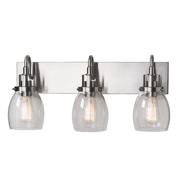 This 3 light, brushed chrome, clear seeded glass wall sconce is well suited for hallways, powder rooms, bathrooms, and master ensuites. As part of the Dayton family, the styling is reflective of a more traditional era, with reflections of early American gas lights with a softer masculine look. The clear seeded glass completes the look to give you a fixture that works in modern industrial homes as well as a more traditional craftsman home.