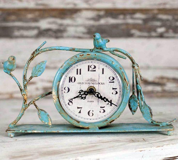 Vintage Blue Patina Songbird Mantel Clock