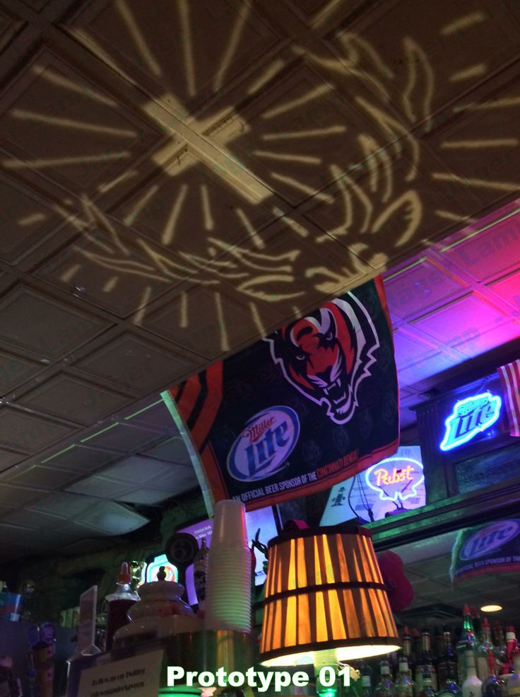 Jäger Lamp for sale in early 2014. This was prototype 1's lampshade projecting on the ceiling at a local bar. Jagermeister Lamp