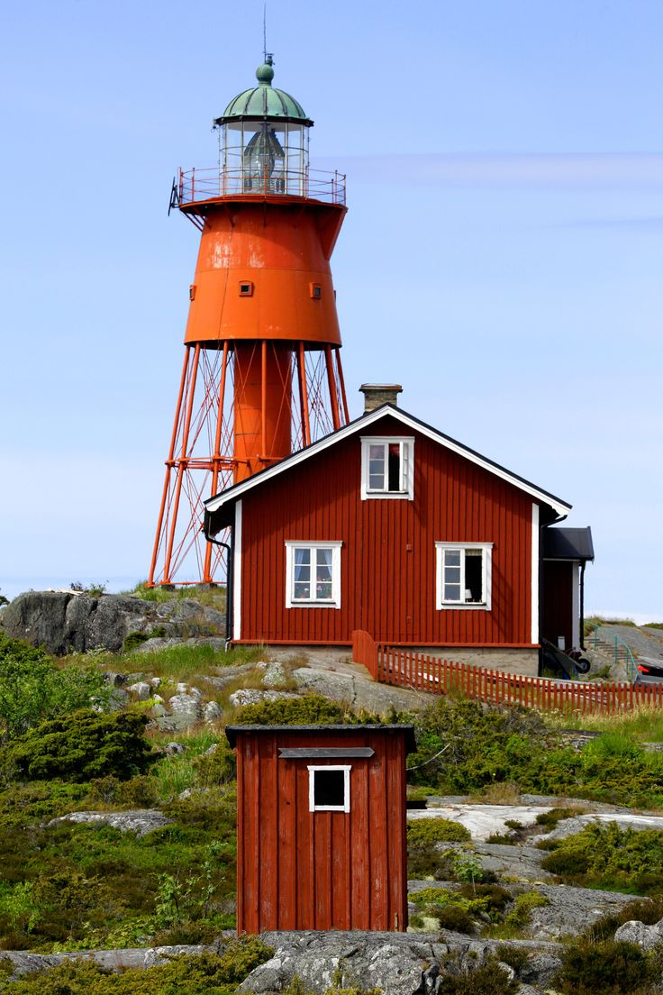Lighthouse and houses at Svenska Högarna in the Stockholm archipelago, Sweden.