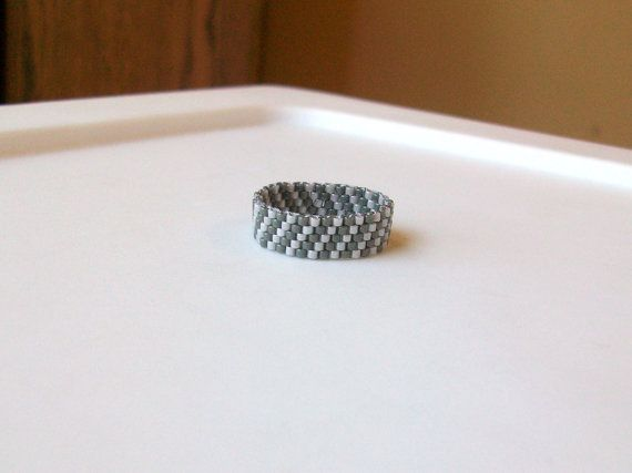 Dark Pewter and Pearl Grey Beaded Band Ring  Size 8 by mswolflady, $12.00