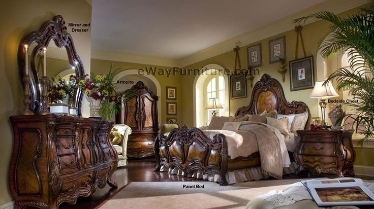 French Rococo Queen Panel Bed Wood Master Bedroom Furniture