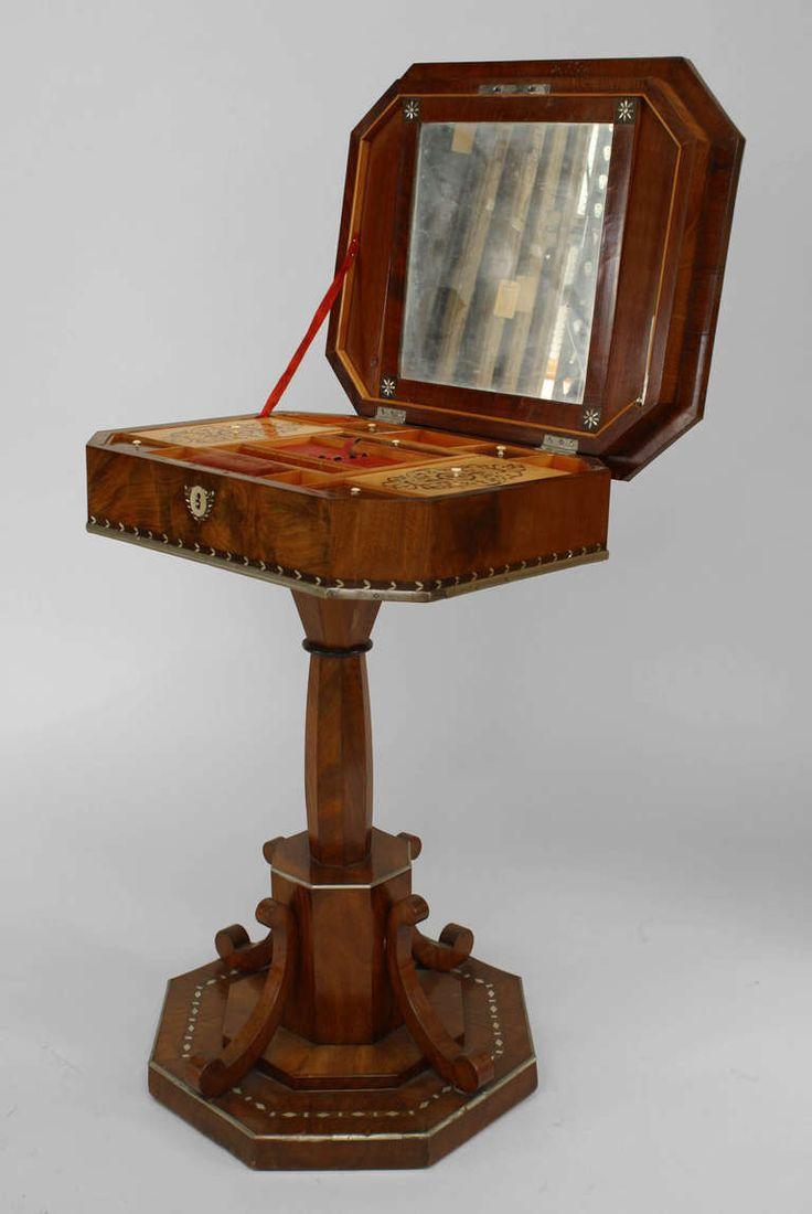 19th Century Biedermeier Pearl Inlaid Sewing Box Table