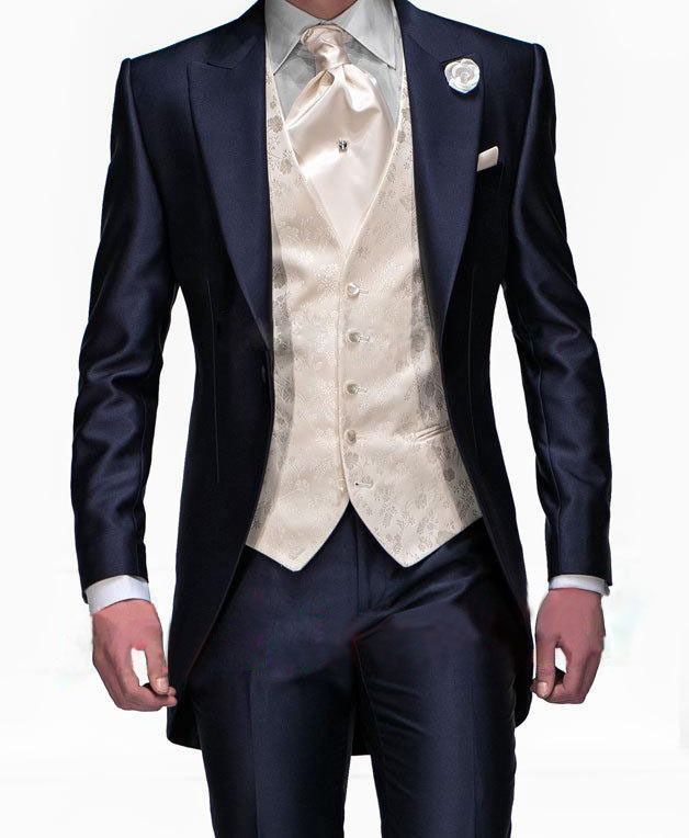 2015 Suits New Design Navy Blue One Button Groom Tuxedos Groomsmen Men&  Wedding Suits Best man Suits (Jacket+Pants+Vest+Tie)(China (Mainland))