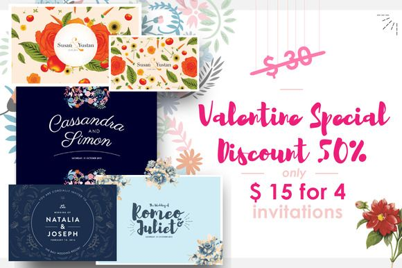 VALENTINE SPECIAL WEDDING INVITES by Laffmate on Creative Market