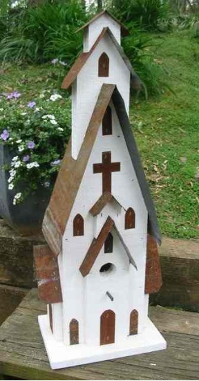 Barn Wood & Tin White Church Birdhouse 3 entrances-1 nest cavity. Easy clean-out on back. Signed $115