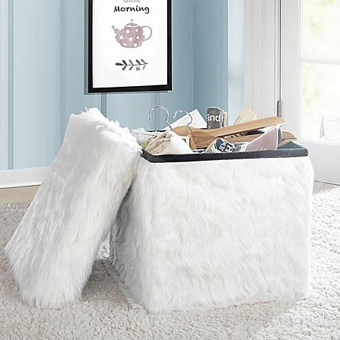 Add a stylish and practical accent to any room in your home with the Mongolian Fur Collapsible Storage Cube. Perfect for keeping items out of sight and also providing extra seating, it has a roomy interior and removable padded lid/seat.