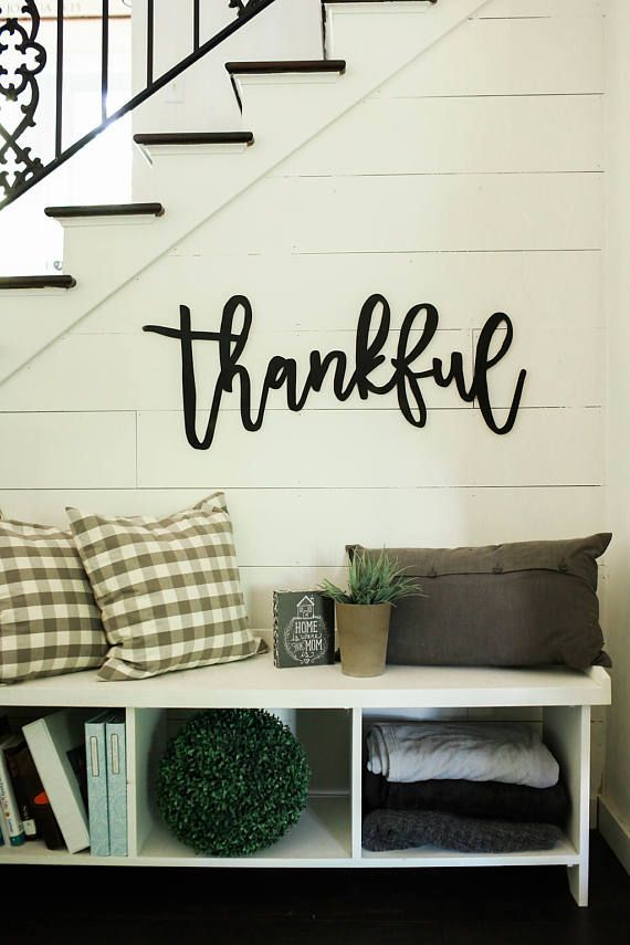 Thankful 3d Word Cutout Word Wooden Word Gallery Wall Farmhouse Wall Decor Easy Home Decor Wall Decor Living Room