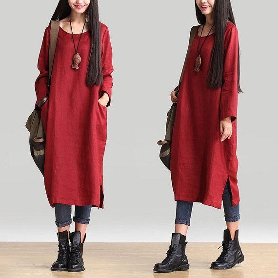 Abito lino maxi pullover casual rosso manica lunga camicia
