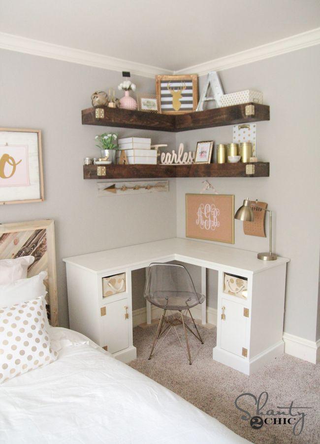 DIY Corner Floating Shelves by Shanty2Chic